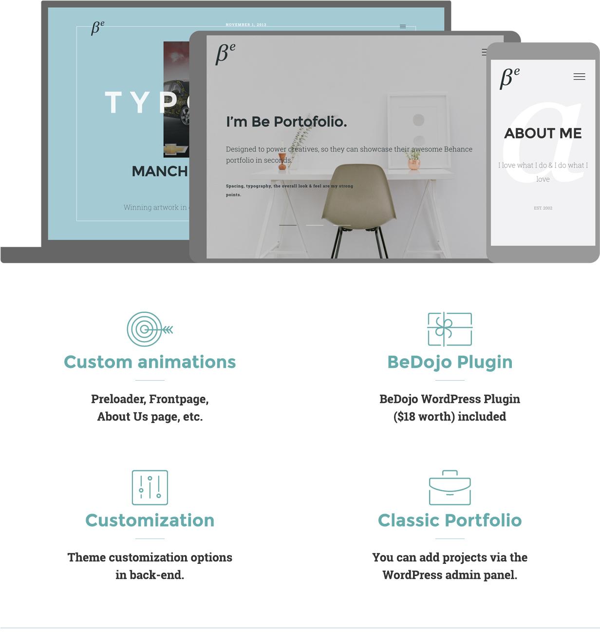 BePortfolio - Behance Projects WordPress Theme - 1